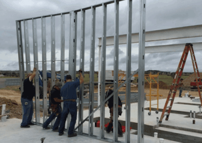 Standing up the wall panel framing