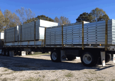 Truck loaded with framing panels ready to be delivered to the job site